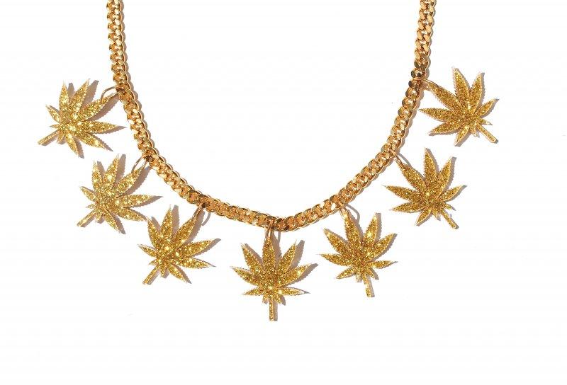 Gold Silver Mirror Multi Leaf Chronic Chain