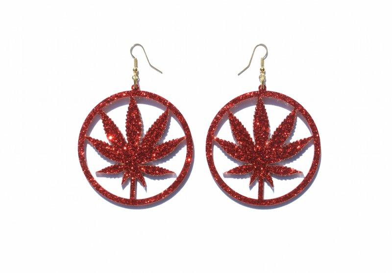 Red Glitter Chronic Hoop Earrings