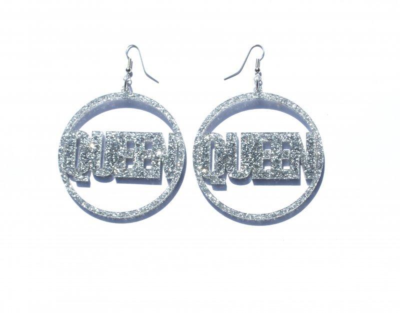 Gold Silver Queen Hoop Earrings