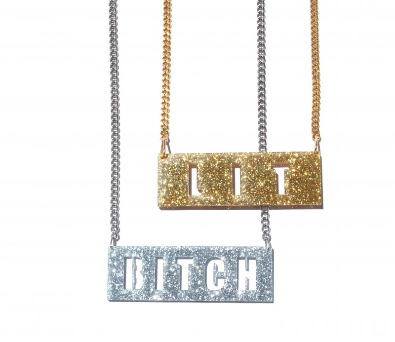 Silver Gold Lit Bitch Chain