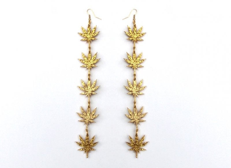NEW Gold Chronic drop earrings