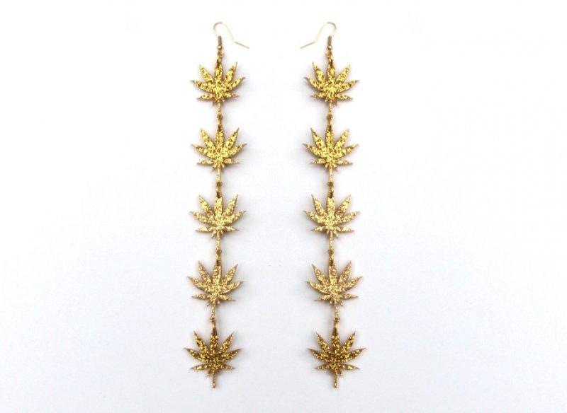 NEW Gold Chronic drop earrings